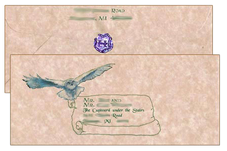 Harry Potter letter from Hogwarts envelope