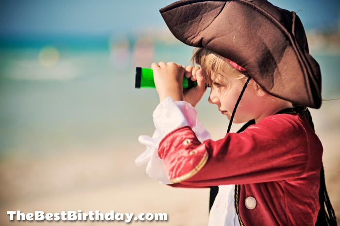 Child dressed as a pirate for a pirate party