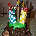 Side view of Harry Potter Quidditch cake