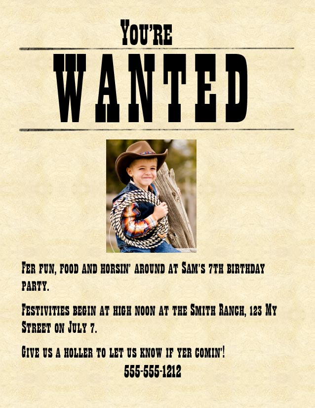 Cowboy cowgirl western party the best birthday make your own wanted poster invitations filmwisefo